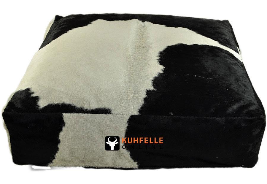 grosses kuhfell pouf sitzkissen 80 x 80 x 20 cm auf kuhfelle online de bestellen. Black Bedroom Furniture Sets. Home Design Ideas