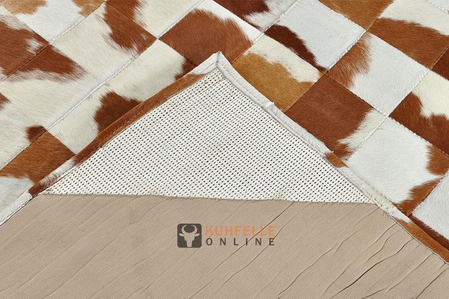 kuhfell teppich braun weiss patchwork 240 x 180 cm. Black Bedroom Furniture Sets. Home Design Ideas