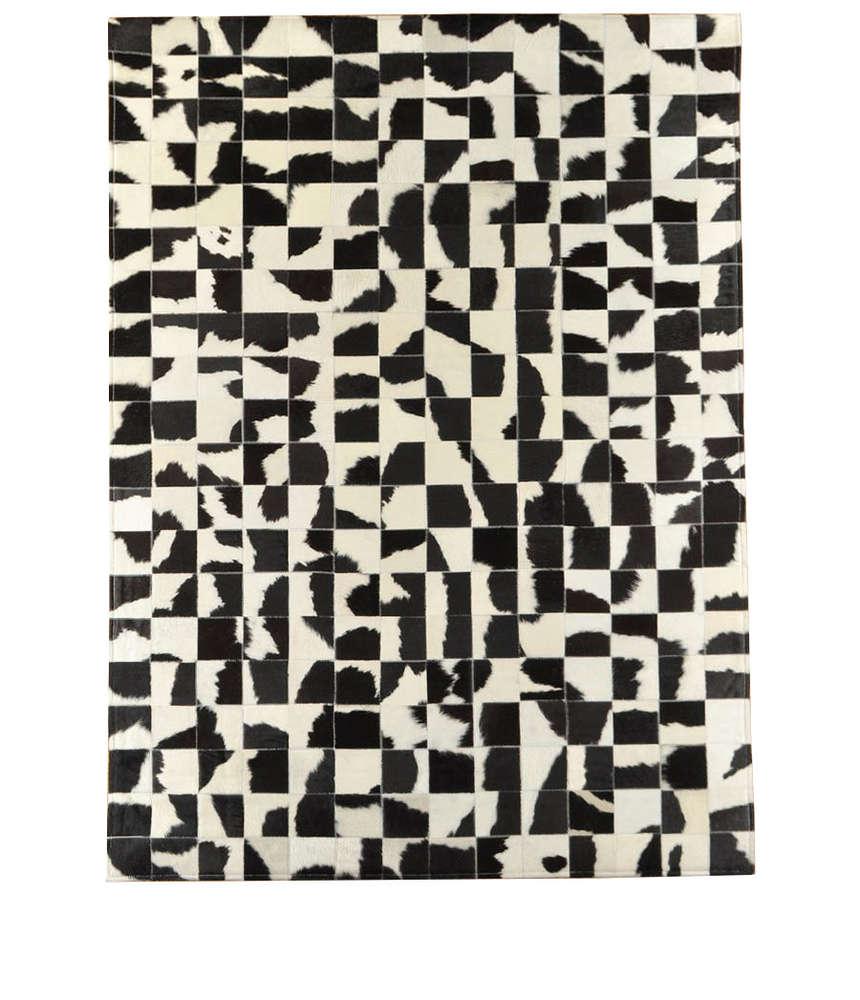 Kuhfell teppich schwarz weiss 200 x 140 cm   patchwork