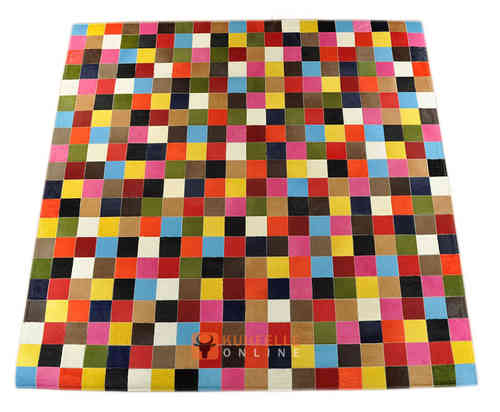 KUHFELL TEPPICH BUNT 200 x 200 cm