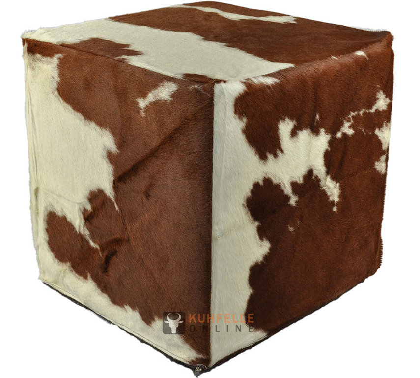exklusiver kuhfell hocker sitzw rfel braun weiss 45 x 45 x 45 cm. Black Bedroom Furniture Sets. Home Design Ideas