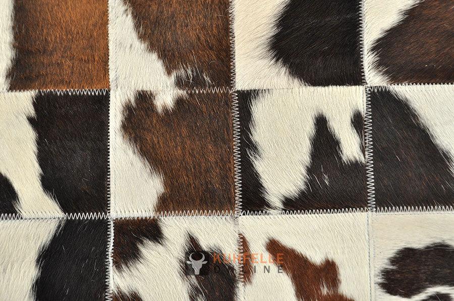 Kuhfell teppich 200 x 140 cm braun schwarz weiss patchwork - Kuhfell teppich schwarz ...