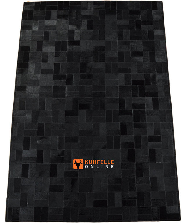 kuhfell teppich schwarz 180 x 120 cm patchwork. Black Bedroom Furniture Sets. Home Design Ideas