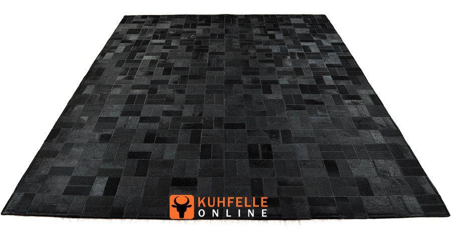 KUHFELL TEPPICH SCHWARZ 200 x 160 cm - PATCHWORK