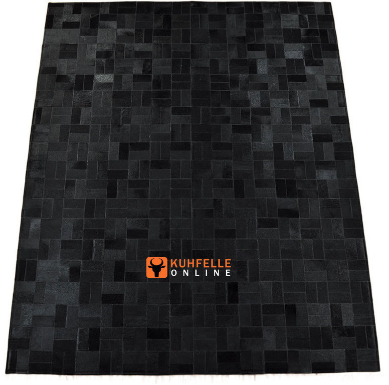 kuhfell teppich schwarz 200 x 160 cm patchwork. Black Bedroom Furniture Sets. Home Design Ideas