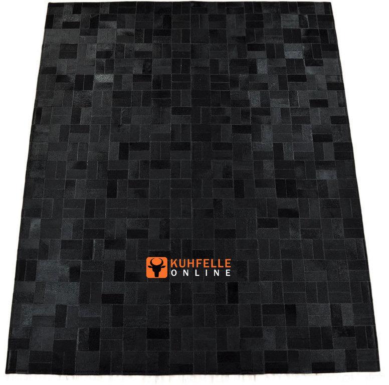 kuhfell teppich schwarz 200 x 160 cm patchwork. Black Bedroom Furniture Sets. Home Design Ideas
