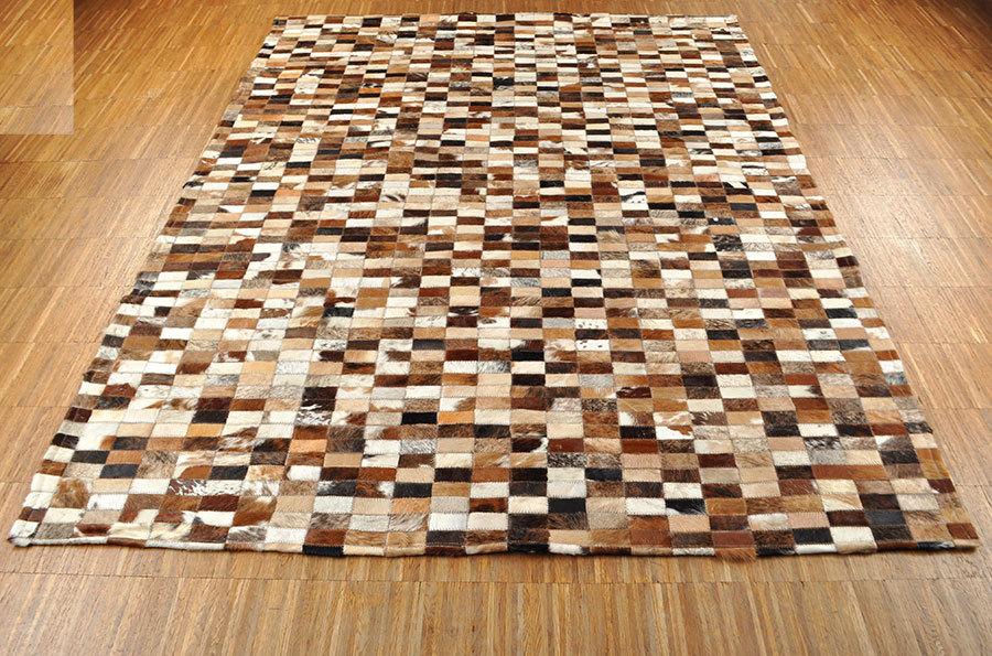 Kuhfell teppich braun schwarz weiss 192 x 145 cm patchwork - Kuhfell teppich schwarz ...