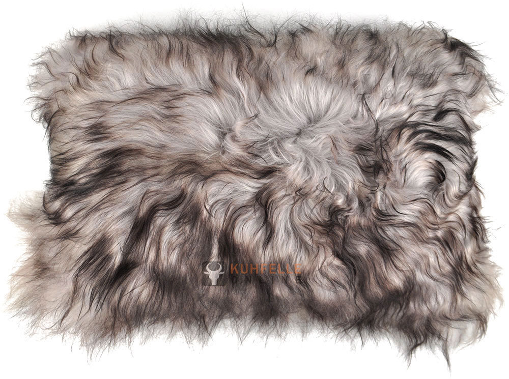 lammfell kissen grau schwarz langwollig 35 x 55 cm. Black Bedroom Furniture Sets. Home Design Ideas
