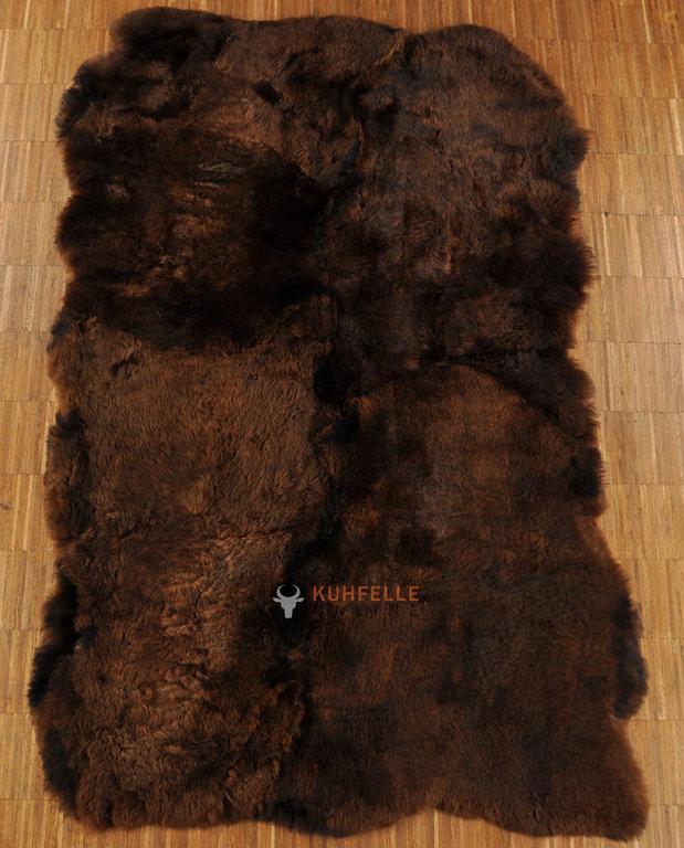 Öko Lammfell Teppich braun 110 x 180 cm aus4 Lammfellen