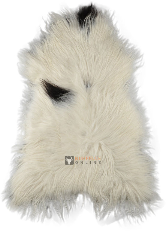 Icelandic Lambskin White Brown Spotted 80 X 120 Cm XL KUHFELLE