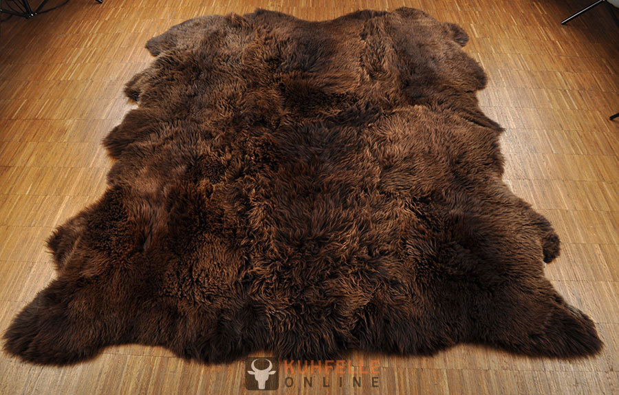 ko lammfell teppich braun 170 x 200 cm aus 6 irischen. Black Bedroom Furniture Sets. Home Design Ideas
