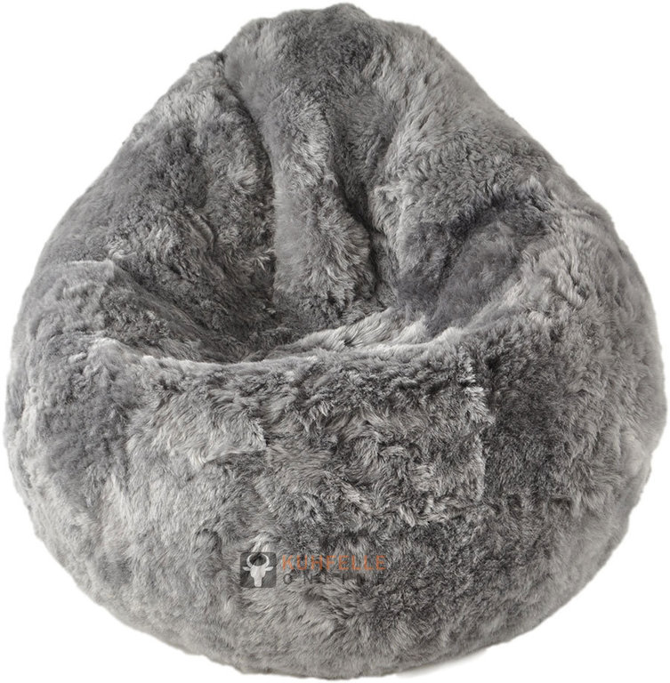 lambskin bean bag pouf grey short haired kuhfelle online