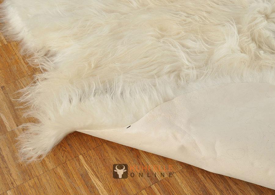 ko lammfell teppich braun weiss 200 x 120 cm langwollig. Black Bedroom Furniture Sets. Home Design Ideas