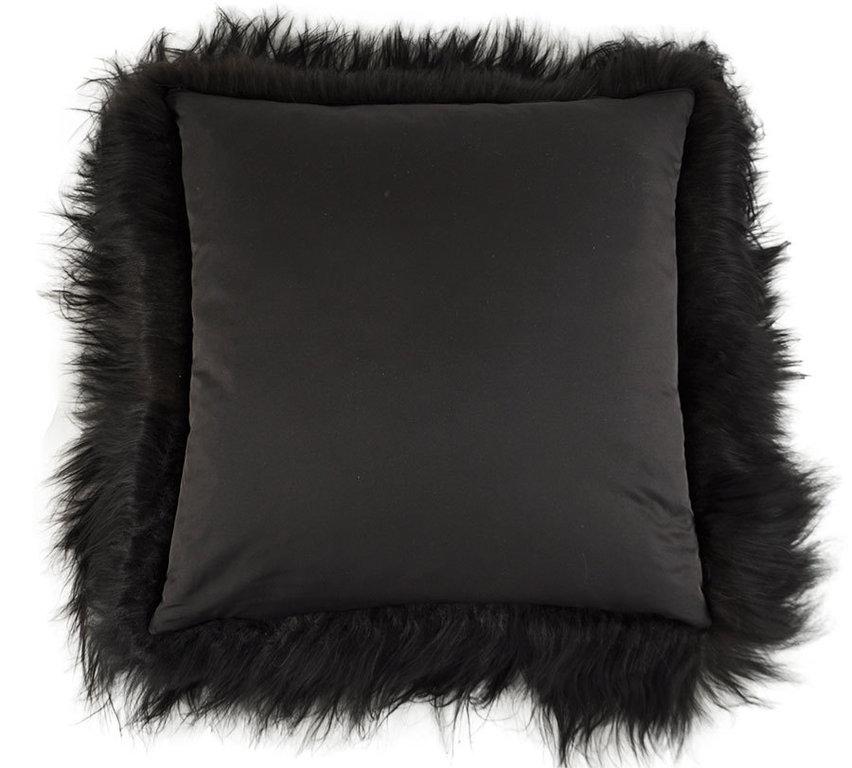lammfell kissen schwarz 60 x 60 cm langhaarig online kaufen. Black Bedroom Furniture Sets. Home Design Ideas