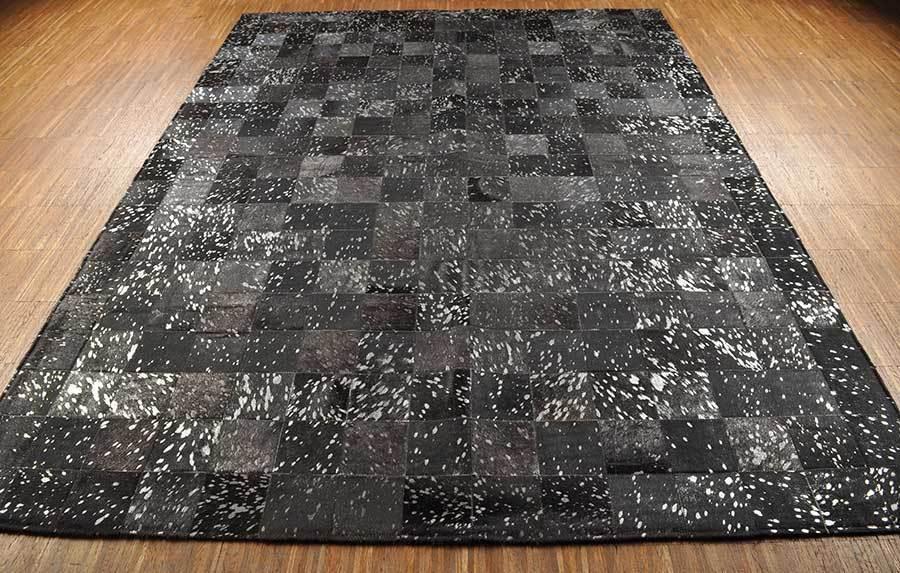 Kuhfell teppich schwarz silber devore 180 x 150 cm bei kuhfelle online - Kuhfell teppich schwarz ...