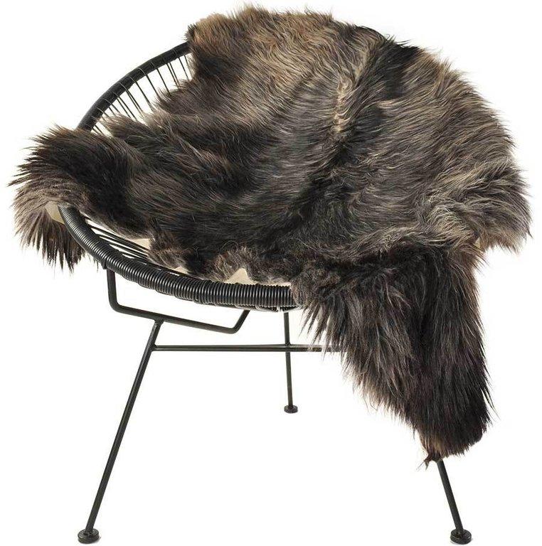 ziegenfell langhaar grau braun 120 x 90 cm kuhfelle online. Black Bedroom Furniture Sets. Home Design Ideas