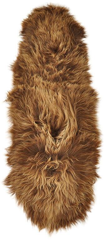 Icelandic Lambskin rug dyed brown 200 x 70 cm