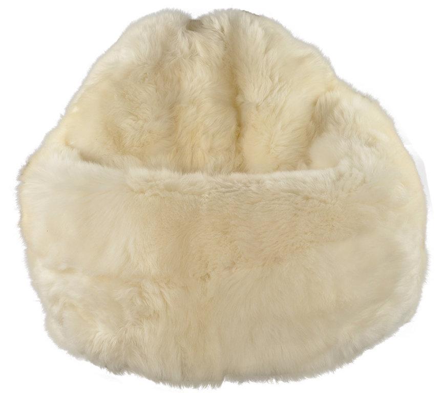 Lambskin Beanbag Pouf Nature White KUHFELLE ONLINE Stunning Sheepskin Pouf Bean Bag
