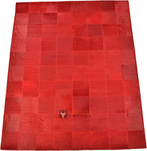 EXKLUSIVER KUHFELL TEPPICH ROT 160 x 200 cm