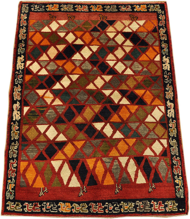 Old Gabbeh Qashqai South Persian Tribal Rug 110 X 152 Cm