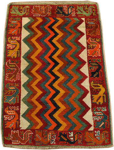 old Gabbeh Qashqai south persian tribal rug100 x 145 cm