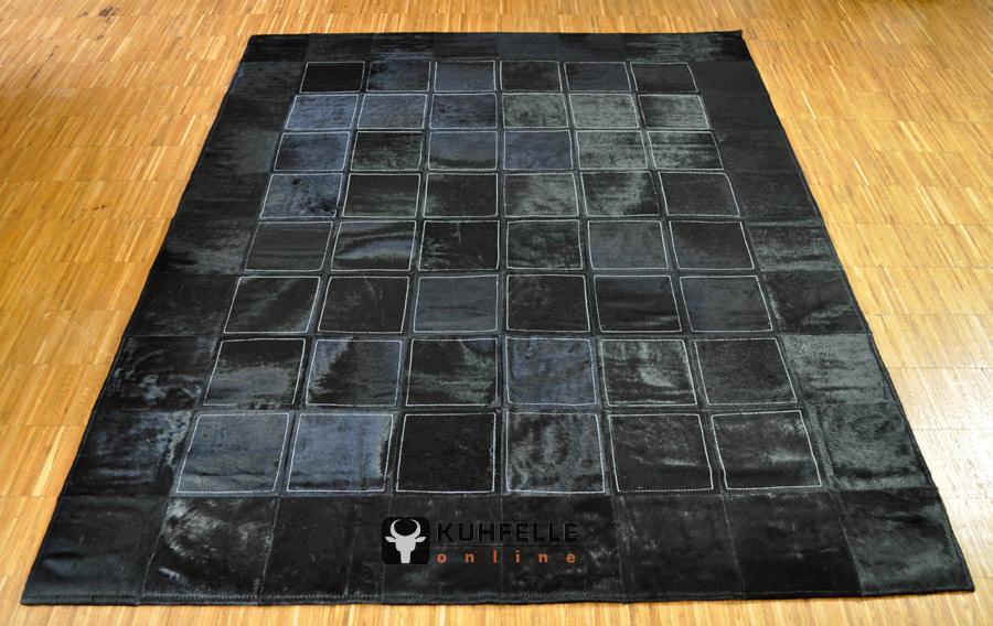 Exklusiver kuhfell teppich schwarz gef rbt 200 x 160 cm kuhfelleonline nomad - Kuhfell teppich schwarz ...