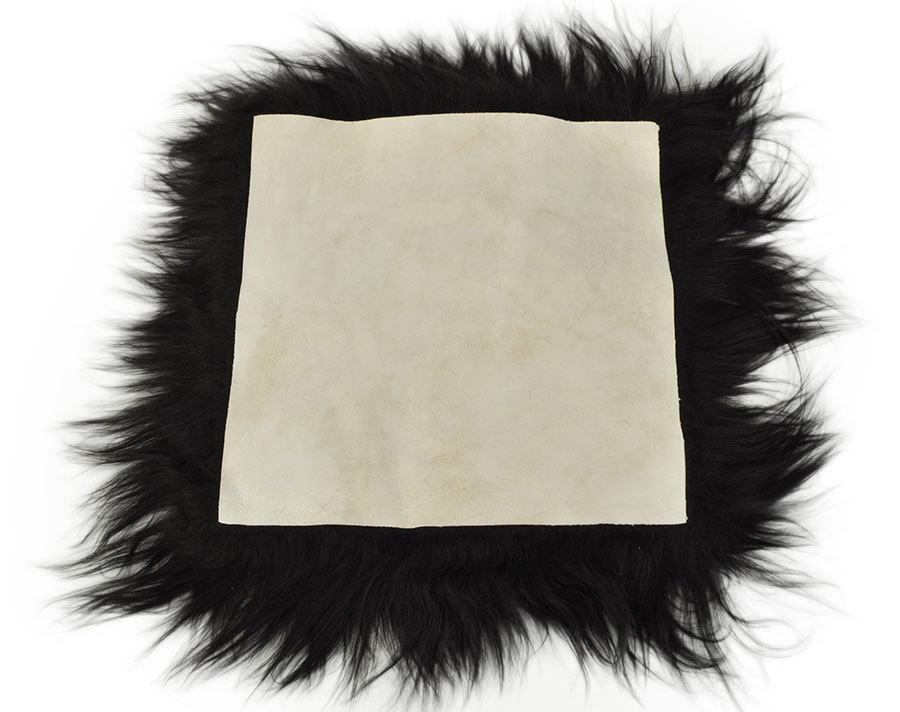 Fell Sitzauflage öko lammfell pad sitzauflage schwarz 37 x 37 cm langwollig