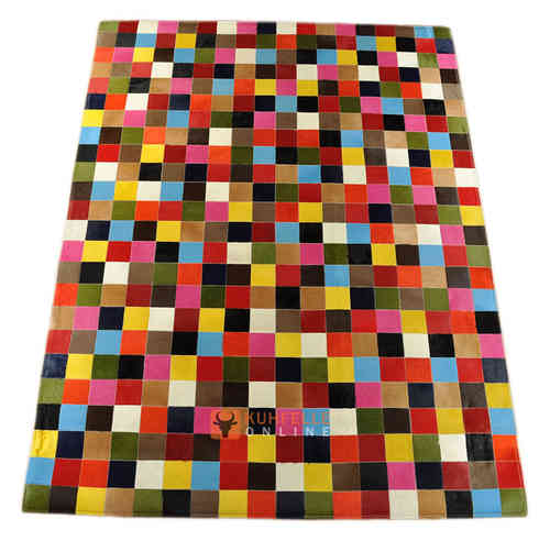KUHFELL TEPPICH BUNT 240 x 180 cm