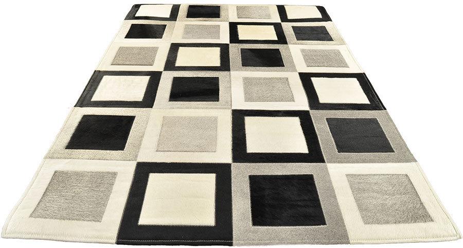 kuhfell teppich grau schwarz wei 180 x 120 cm bei kuhfelle online. Black Bedroom Furniture Sets. Home Design Ideas