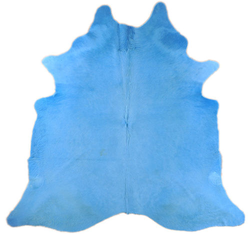 COWHIDE RUG BRIGHT BLUE DYED 230 x 195 cm
