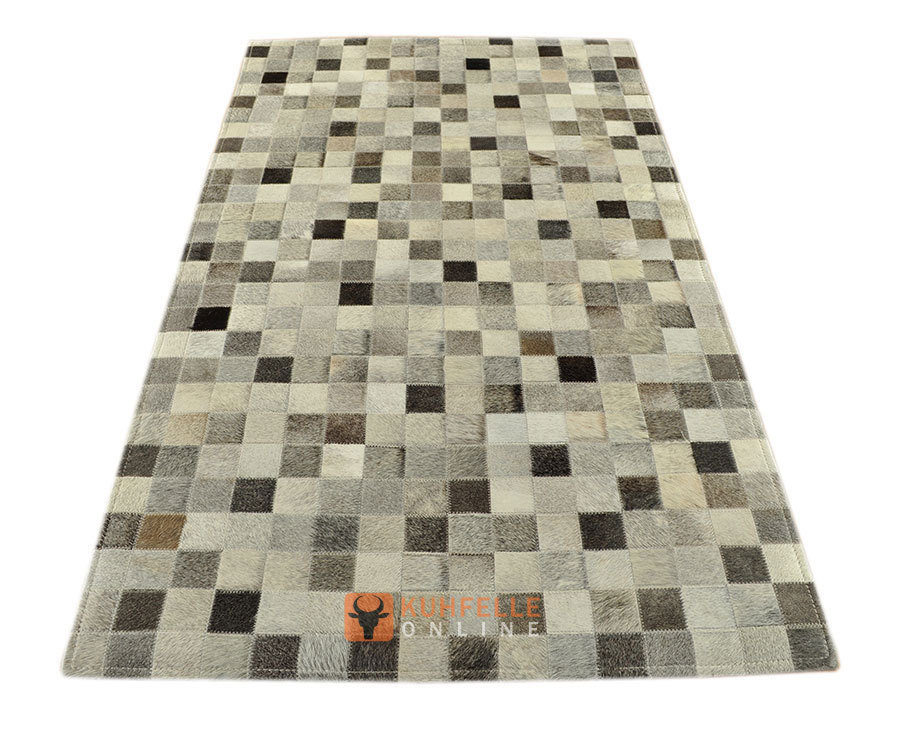 kuhfell teppich mix grau 140 x 80 cm patchwork. Black Bedroom Furniture Sets. Home Design Ideas