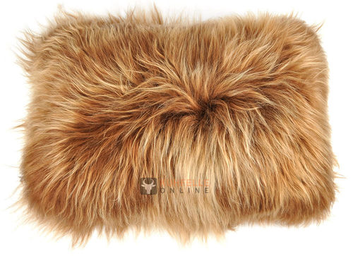 Lambskin cushion dyed brown long haired  35 x 55 cm