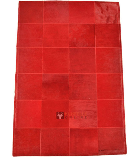 EXKLUSIVER KUHFELL TEPPICH ROT 80 x 120 cm