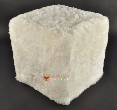Cube Stool Ottoman  made of Lambskin white 45x45x45 cm