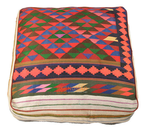 Kilim pouf floor cushion 80 x 80 x 20 cm