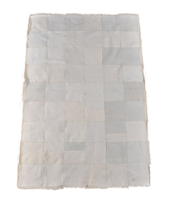 LAMMFELL PATCHWORK PLAID ÜBERWURF TAGESDECKE MELANGE 180 x 120 cm