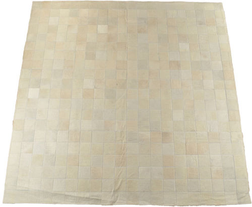 KUHFELL TEPPICH CREME WEISS 200 x 200 cm