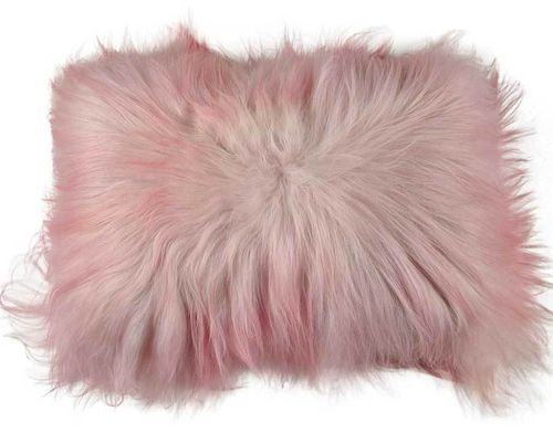 Lambskin cushion dyed pale pink long haired  35 x 55 cm