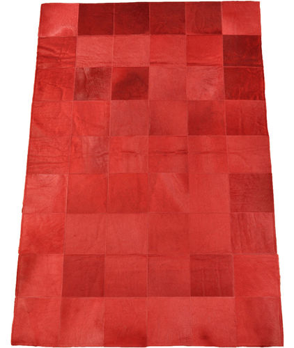 KUHFELL TEPPICH ROT 180 x 120 cm
