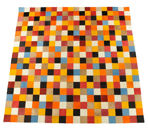 KUHFELL TEPPICH MULTICOLOR 200 x 200 cm
