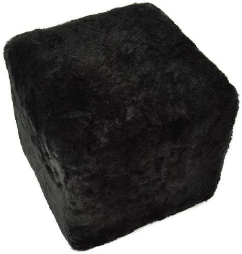 Stool Ottoman Seating Cube Pouf made of lambskin black wood frame 42x42x42 cm