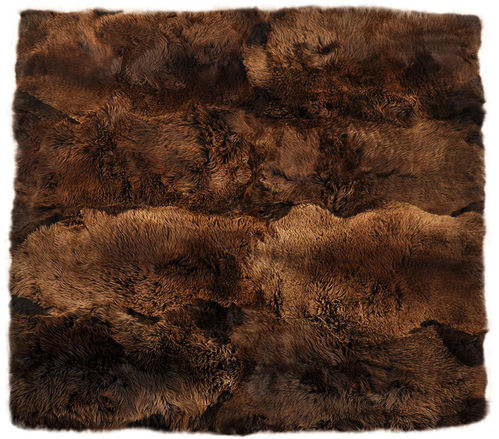 Eco lambskin rug natural brown 200 x 200 cm