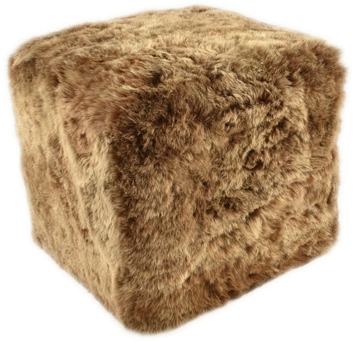 Stool Ottoman Seating Cube Pouf made of lambskin brown wood frame 42x42x42 cm