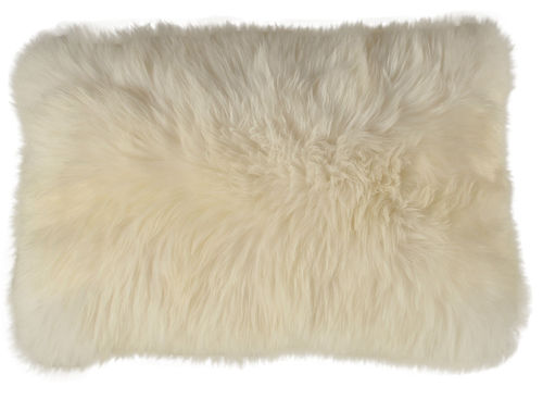 Lambskin cushion natural white long haired  35 x 55 cm